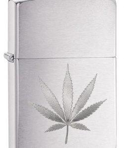 Chrome Marijuana Leaf Design #29587 By Zippo